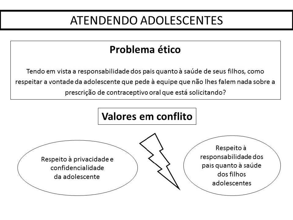 Problema ético e valores em conflito na vinheta 'Atendendo Adolescentes'